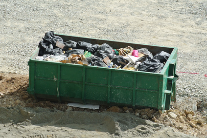 Construction wasted disposal bin used at the construction site.